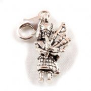 Scottish Piper 3D Sterling Silver Clip On Charm - With Clasp